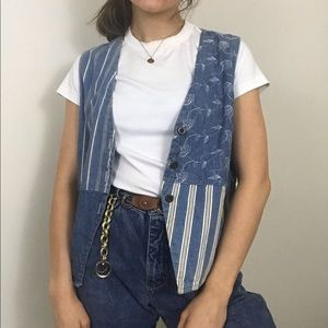 Vintage • Printed Denim Chambray Patchwork Vest